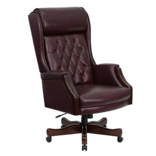 Executive Swivel Office Chair Burgundy Leather - Flash Furniture