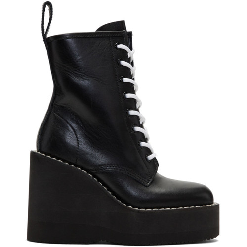 SACAI Black Lace-Up Wedge Boots