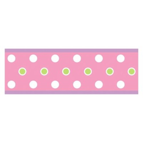 RoomMates RMK1452BCS Dotted Peel & Stick Border, Pink [Pink]