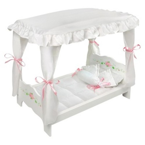 Badger Basket Canopy Doll Bed with Bedding - White Rose - Fits American Girl, My Life As & Most 18