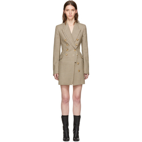 STELLA MCCARTNEY Tan Houndstooth Blazer Dress