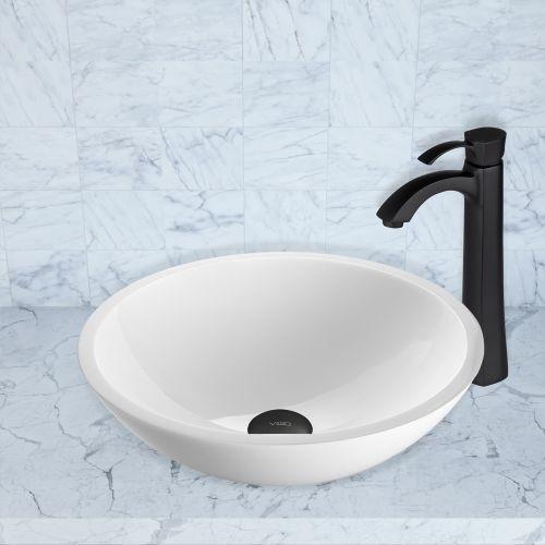VIGO Victoria Phoenix Stone Vessel Bathroom Sink Set With Otis Vessel Faucet In Matte Black