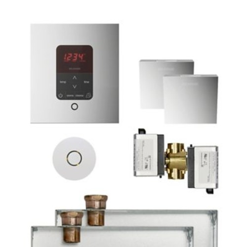 Mr. Steam Butler Square Steam Thermostat, Timer, and Steamhead; Polished Chrome