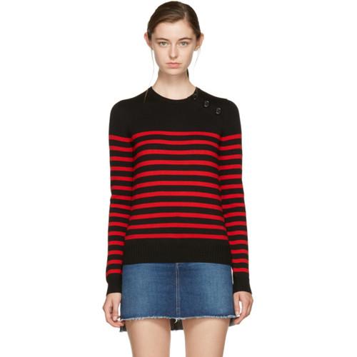 SAINT LAURENT Black & Red Striped Marinière Sweater