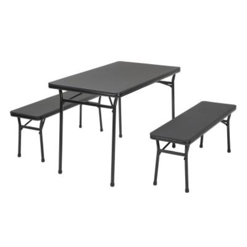 Cosco 3-Piece Black Folding Table and Bench Set