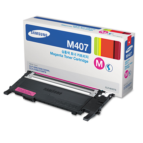 Samsung SASCLTM407S CLTM407S (CLT-M407S) Toner, 1,000 Page-Yield, Magenta