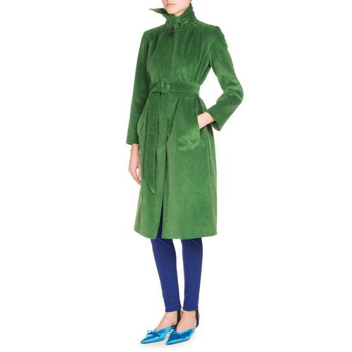 BALENCIAGA Scarf-Tie Velvet Coat, Green