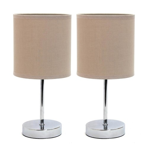 Simple Designs Chrome Mini Basic 11.7 in. Table Lamp with Gray Fabric Shade (2-Pack Set)