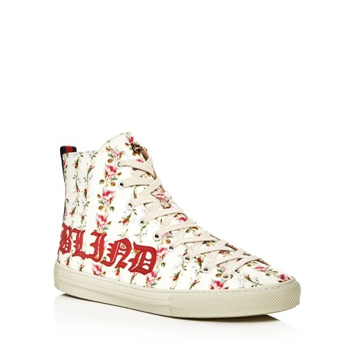 GUCCI Women'S Major Blind For Love Rose Print Satin High Top Sneakers