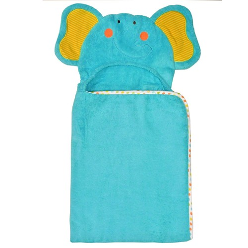 Neat Solutions 100% Cotton Woven Terry Hooded Bath Towel for Kids, Friendly Elephant [Elephant]