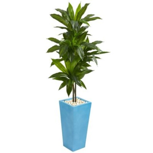Nearly Natural 5-Foot Real-Touch Dracaena in Turquoise Planter