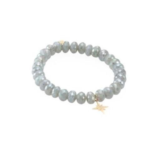 Small Starburst Diamond & Blue Silverite Beaded Bracelet