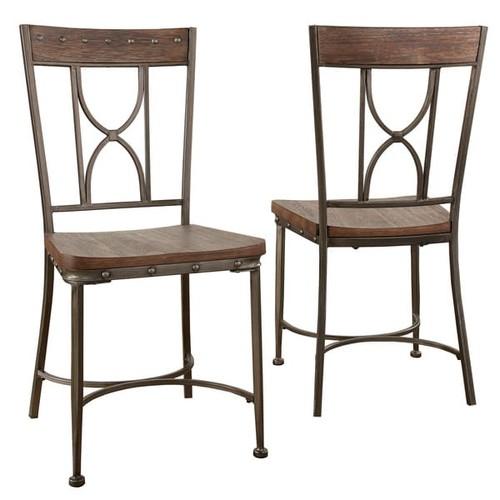 Hillsdale Furniture Paddock Grey Metal and Wood Dining Chair (Set of 2) - Paddock DIning Chair Set in Brown-Gray