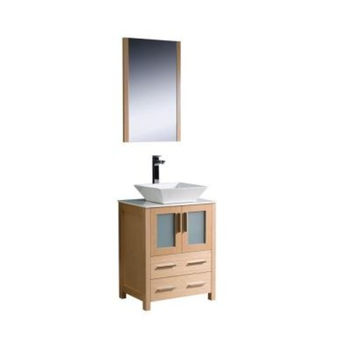 Fresca Torino 24 in. Vanity in Light Oak with Glass Stone Vanity Top in White with White Basin and Mirror