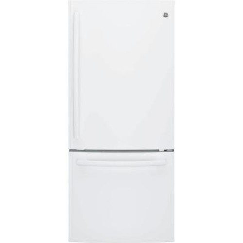 GE 20.9 cu. ft. Bottom Freezer Refrigerator in White