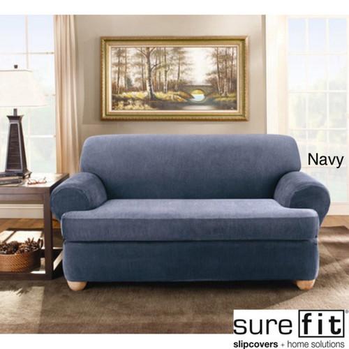 Sure Fit Stretch Stripe 2-piece T-cushion Loveseat Slipcover