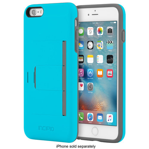Incipio - STOWAWAY Advance Wallet Case for Apple iPhone 6 Plus and iPhone 6s Plus - Blue/Gray