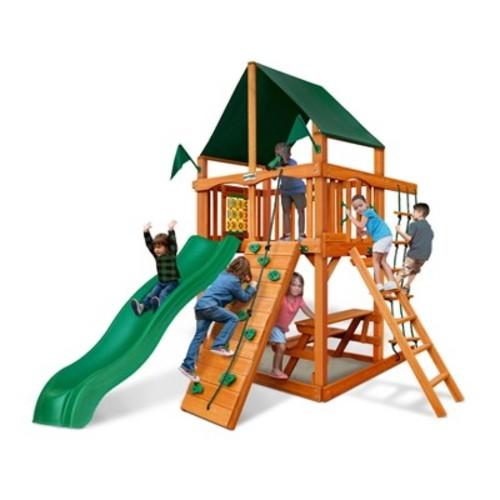 Gorilla Playsets Chateau Tower with Amber & Sunbrella Canvas Forest Green Canopy