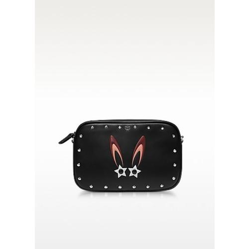 Black Star Bunny Motif Mini Crossbody Bag w/Zip