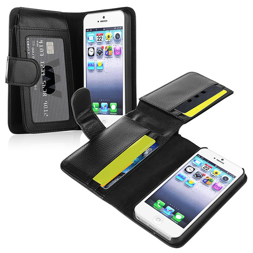 Insten 901717 Folio Leather Cover Case with Card slot/Photo Display for Apple iPhone 5/5S/SE, Black
