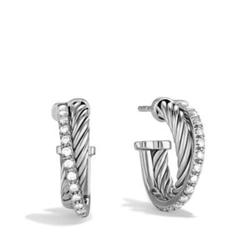Crossover Extra Small Hoop Earrings with Diamonds
