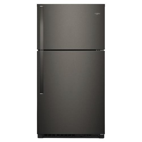 Whirlpool 33 in. W 21.3 cu. ft. Top Freezer Refrigerator in Fingerprint Resistant Black Stainless