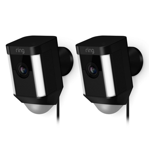 Ring Spotlight Cam Wired Outdoor Rectangle Security Camera, Black (2-Pack)