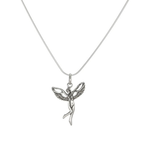 Jewelry by Dawn Antique Silver Fairy Sterling Silver Snake Chain Necklace - Sterling silver