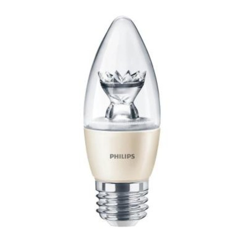 Philips 60W Equivalent Soft White (2700K) B13 Blunt Tip Candle Dimmable LED Light Bulb (4-Pack)