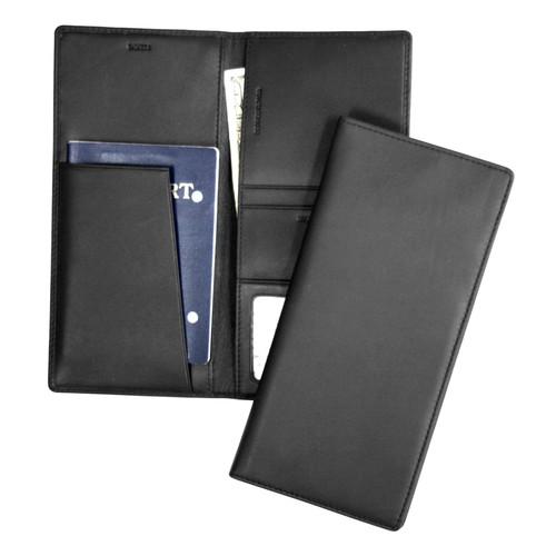 Royce Leather Rfid Blocking Passport Ticket Organizer in Leather [Black]