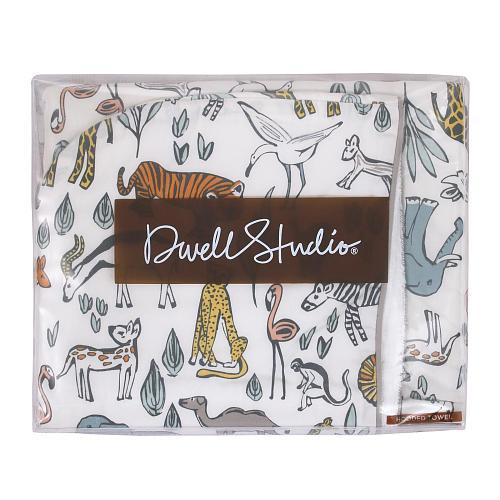DwellStudio Safari Printed Percale/Solid Woven Terry Hooded Bath Towel