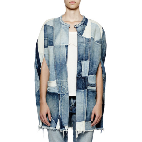 SAINT LAURENT Open-Front Patchwork-Denim Cape, Denim Blue