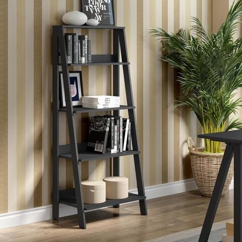 Walker Edison Furniture Company 55 in. Wood Ladder Bookshelf - Black