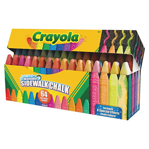 Crayola Washable Sidewalk Chalk - Assorted - 64 / Pack