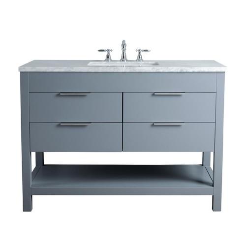 Stufurhome Rochester 48 in. Grey Single Sink Bathroom Vanity with Marble Vanity Top and White Basin