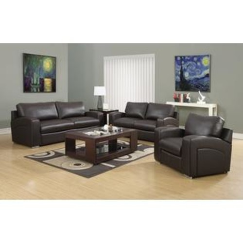 Monarch Specialties I 8501BR Dark Brown Bonded Leather Match Chair