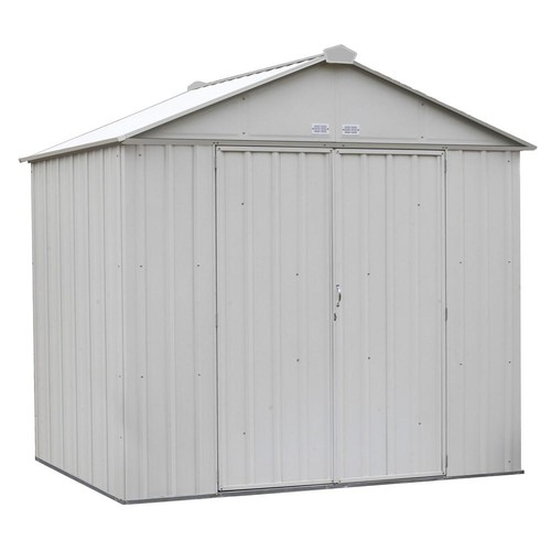 Arrow EZEE Shed 8 ft. x 7 ft. Galvanized Steel Cream High Gable