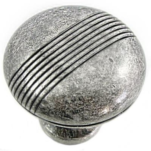 MNG Hardware 2 in. Distressed Antique Silver Striped Knob