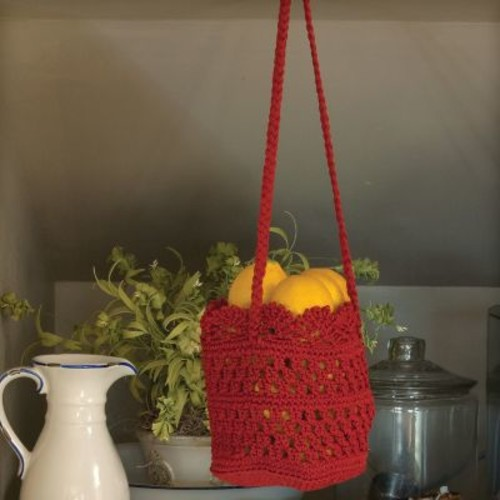 Heritage Lace Mode Crochet Hanging Basket (Set of 2); Ruby Red