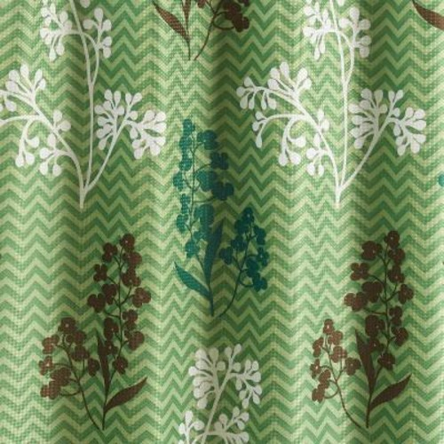 Creative Home Ideas Diamond Weave Textured 70 in. W x 72 in. L Shower Curtain with Metal Roller Rings in Whimsy Leaves Sage