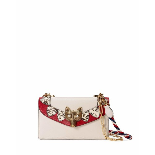 GUCCI Linea E Leather & Snakeskin Shoulder Bag, White/Red
