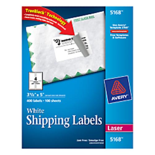 Avery TrueBlock White Laser Shipping Labels, 3 1/2