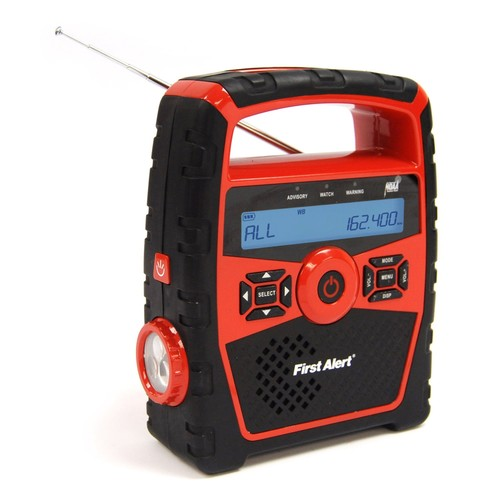 First Alert Portable AM/FM Weather Band Clock Radio w/Weather Alert