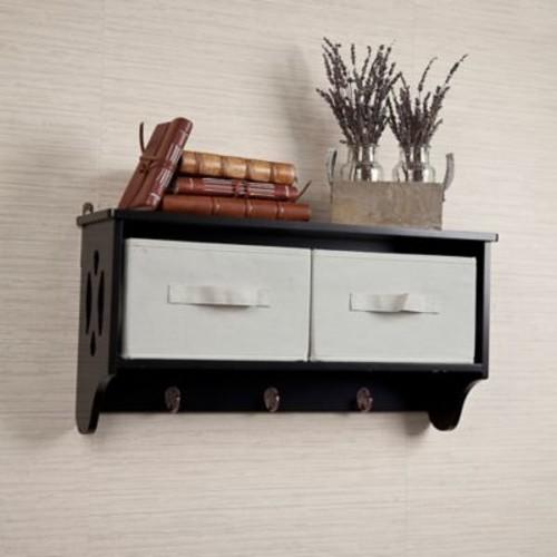 Danya B. Storage Wall Shelf with Canvas Bins and Hooks