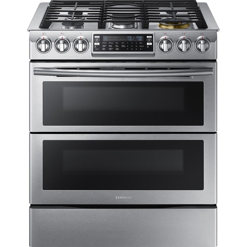 Samsung - 5.8 Cu. Ft. Gas Flex Duo Self-Cleaning Slide-In Smart Range with Convection - Stainless steel