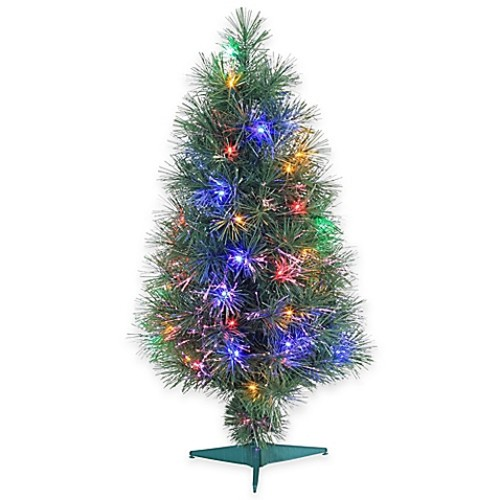 Fiber Optic 3-Foot Pre-Lit Christmas Tree with Multi-Color Lights