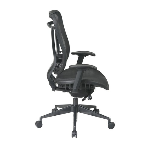 SPACE Seating Breathable Mesh High Back and Seat, Ultra 2-to-1 Synchro Tilt Control, Seat Slider and Gunmetal Finish Executive Chair [Gunmetal Finish, Mesh Seat]