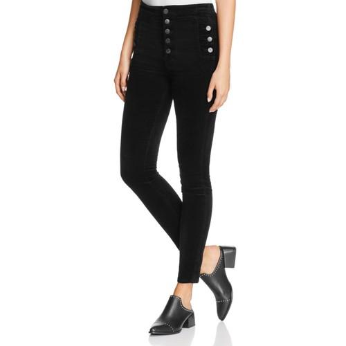 Natasha Sky-High Skinny Velvet Jeans in Black