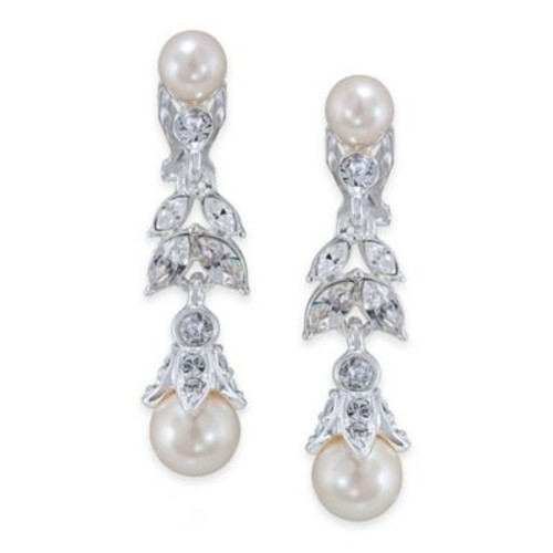 Carolee New York Lily Floral Pearl Linear Drop Clip-On Earrings