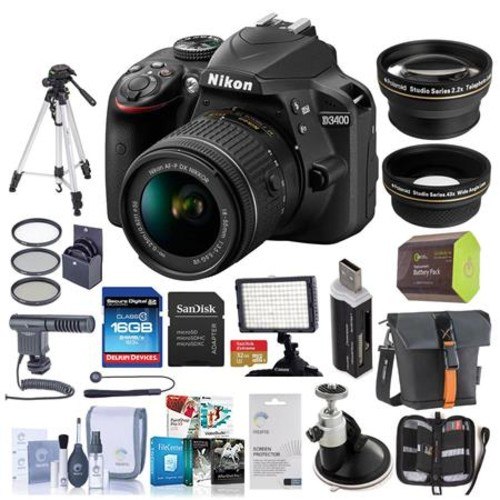 Nikon D3400 DSLR Camera w/18-55mm f/3.5-5.6G DX VR Lens Black w/Pro Acc Bundle